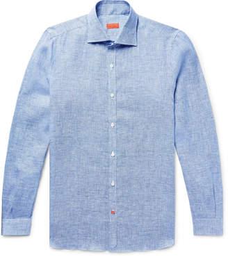 Isaia Slim-Fit Satin-Trimmed Slub Puppytooth Linen Shirt - Men - Blue