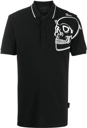 Philipp Plein Outline Skull short-sleeved polo shirt