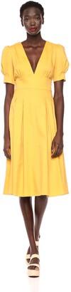 Moon River Women's Waist Tie Deep V Dress