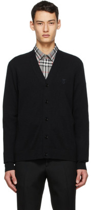 Burberry Black Cashmere Logo Cardigan