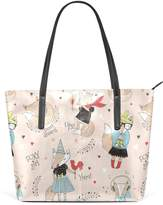 WOZO Funny Fox Chicken Music Note PU Leather Shoulder Tote Bag Purse for Women Girls