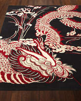 Josie Natori Black Dragon Rug, 6' x 9'