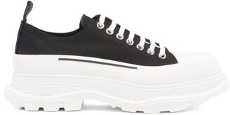 Alexander McQueen Tread-sole Low-top Canvas Trainers - Mens - Black White