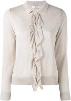 Blugirl lurex ruffle cardigan - women - Viscose/Polyamide/Polyester - 40