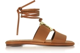 Tory Burch Gemini Link Royal Tan Nappa Leather Lace Up Flat Sandals