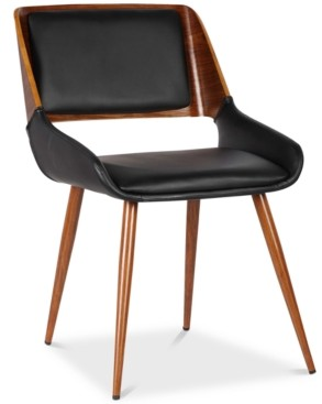 Armen Living Panda Mid-Century Dining Chair in Walnut Finish and Brown Fabric