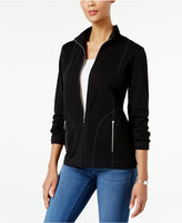 Karen Scott Petite Mock-Neck Lounge Jacket, Only At Macy's