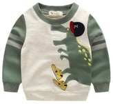 Aivtalk Kids Boys Dinosaur Cartoon Long Sleeve Tee Top Sweatshirt T Shirt Warm Color Block Pullover Clothing 4 Years Old