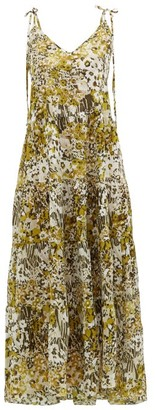 Marios Schwab On The Island By Missi Tiered Floral-print Silk Dress - Womens - Yellow Print