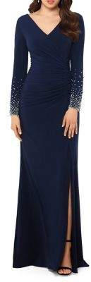Xscape Evenings Petite Long Beaded-Sleeve Gown