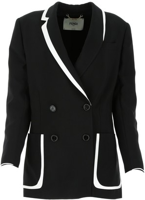 Fendi Contrast Trim Double Breasted Blazer