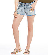 Silver Jeans Co. Aiko Frayed Hem Distressed Woven Stretch Denim Shorts