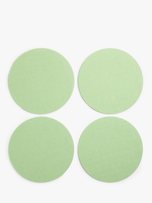 House by John Lewis Round Felt Coasters, Set of 4, Dusty Green