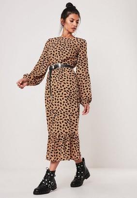 Missguided Dalmatian Print Ruffle Hem Midi Smock Dress