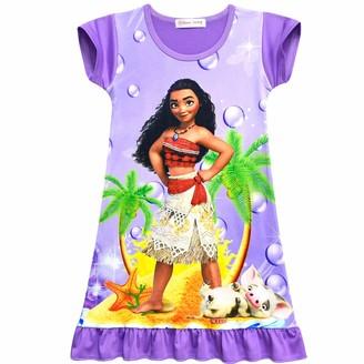 Dgfstm Moana Comfy Loose Fit Pajamas Girls Printed Princess Dress Sleepwear Nightgown (140
