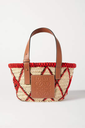 Loewe Small Embroidered Leather-trimmed Woven Raffia Tote