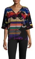 Trina Turk Kayden Silk Print Drop Shoulder Top