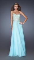 La Femme Long Embellished Strapless Dress 20114