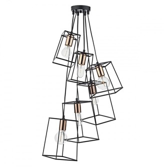 Dar Lighting - Black & Copper Cluster Tower 6 Pendant Light - Black