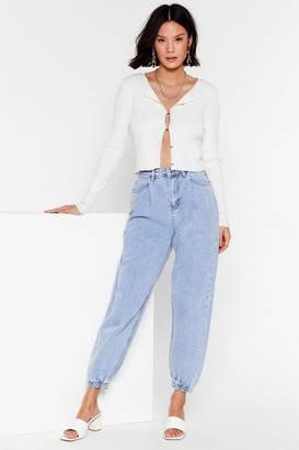 Nasty Gal Womens Calling Your Cuff High-Waisted Mom Jeans - Blue