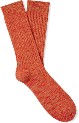 The Workers Club - Melange Ribbed Cotton-Blend Socks - Men - Orange