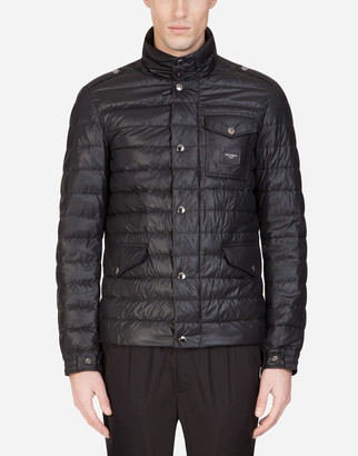 Dolce & Gabbana Quilted Nylon Jacket With Branded Plate