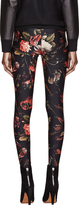 Givenchy Red & Black Floral Print Leggings