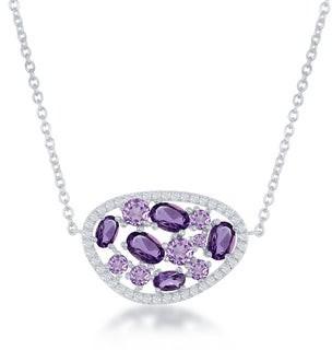 La Preciosa Sterling Silver Gemstone & White Topaz Oval Necklace
