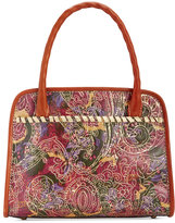 Patricia Nash Metallic Tooled Lace Paris Satchel