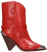 Isabel Marant Lamsy High Heels Ankle Boots In Red Leather