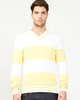 Le Château Stripe Cotton V-Neck Sweater