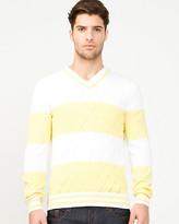 Le Château Stripe Cotton V-Neck Sweater