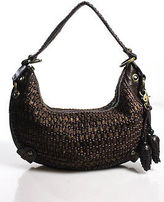 Isabella Fiore Dark Brown Leather Woven Front Full Zipper Closure Pine Cone Sing