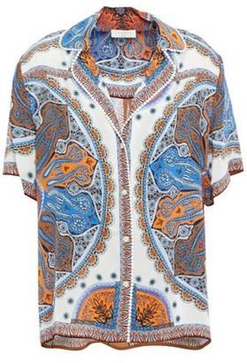 Sandro Joya Lace-trimmed Printed Crepe De Chine Shirt