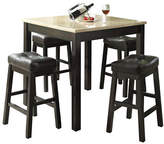 Monarch Five-Piece Marble-Look and Leather-Look Dining Set