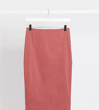 Asos Tall ASOS DESIGN Tall high waisted pencil skirt in dark rose