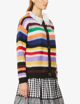 Miu Miu Lace-collar striped mohair-blend cardigan