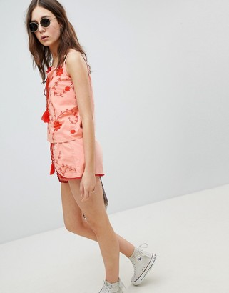 Glamorous Shorts With Wrap Front In Contrast Embroidery Co-Ord-Pink