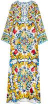 Dolce & Gabbana Printed Silk Maxi Dress - Yellow