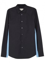 Marni Navy And Light Blue Cotton Shirt