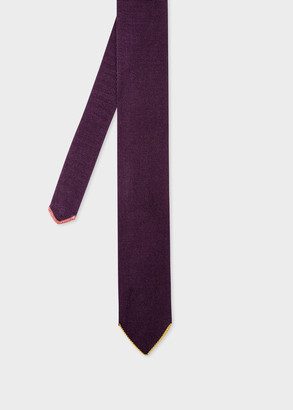 Men's Purple Silk Knitted Tie With Contrast Tip