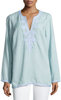 Chelsea & Theodore Long-Sleeve Embellished Tunic, Soft Blue