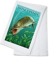 Wisconsin - Muskie (100% Cotton Absorbent Kitchen Towel)