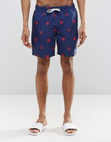 Asos Swim Shorts With Polka Dot Print & Drawcord Detail In Mid Length