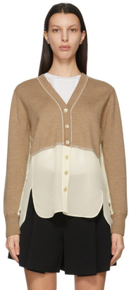 Chloé Brown and Off-White Georgette V-Neck Cardigan