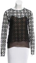 Oscar de la Renta Long Sleeve Lace Top
