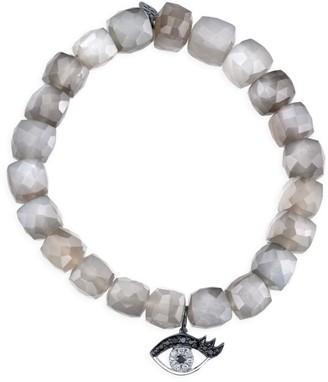 Sydney Evan 14K White Gold & White Rhodium Diamond Moonstone Bracelet