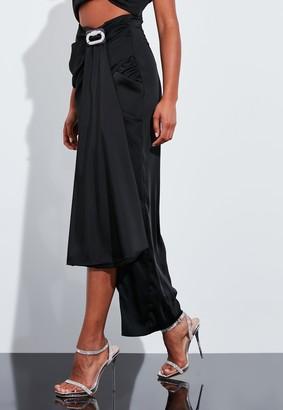 Missguided Black Drape Embellished Trim Maxi Skirt