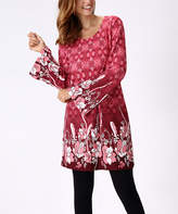 Burgundy & White Floral Bell-Sleeve Tunic - Plus Too