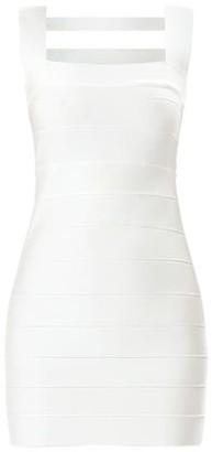 Herve Leger Icon Squareneck Cutout Back Mini Dress